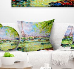 Landscape Printed Colorful Painting of Eiffel Pillow Size: 16