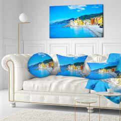 Seashore Camogli Church on Sea and Beach View Throw Pillow Size: 16