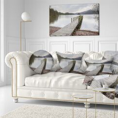 Wooden Sea Bridge Wooden Jetty on Lake District Throw Pillow Size: 20
