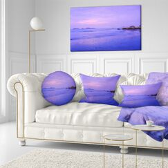 Landscape Printed Sunset at Lung Kwu Tan Coastline Throw Pillow Size: 20