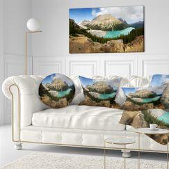 Landscape Printed Peyto Lake Glacial Panorama Lumbar Pillow