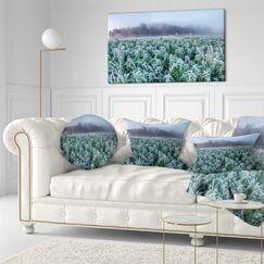 Landscape Printed Frozen Hemp Field in Autumn Morning Throw Pillow Size: 16
