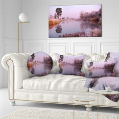Landscape Printed Misty Autumn Sunrise over River Lumbar Pillow