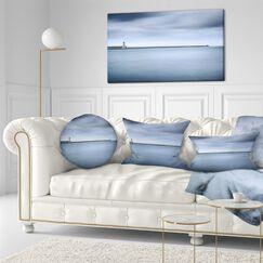 Landscape Wall Breakwater and Soft Water Under Clouds Lumbar Pillow