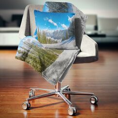 Landscape Printed Austrian Alps Seen From Ski Slope Pillow Size: 18
