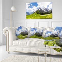 Landscape Printed Valley in French Alps Panorama Throw Pillow Size: 16