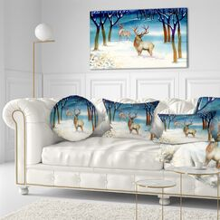 Landscape Printed Amazing Winter Forest with Deer Throw Pillow Size: 20