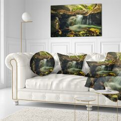 Landscape Printed Wasatch National Forest Waterfall Throw Pillow Size: 20