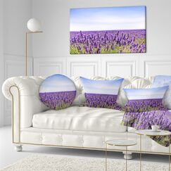 Landscape Wall Close View of Lavender Flower Field Throw Pillow Size: 16
