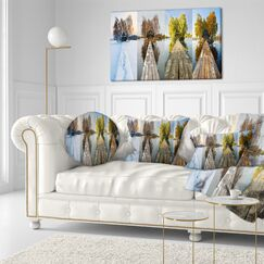 Seascape Houses on Small Island Panorama Throw Pillow Size: 16
