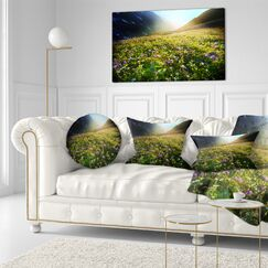 Landscape Meadow with Colorful Flowers Lumbar Pillow
