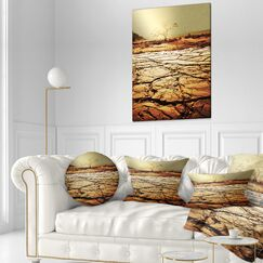 African Landscape Printed Lonely Tree in Drought Land Throw Pillow Size: 16