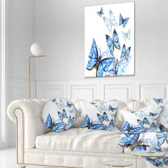 Floral Watercolor Butterflies Throw Pillow Size: 16
