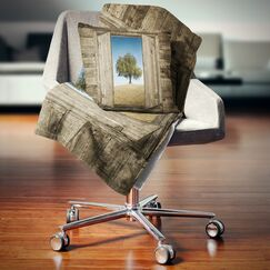 Landscape Printed Window Open to Solitary Tree Pillow Size: 16