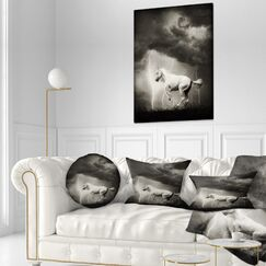 Animal Horse Under Thunder Sky Throw Pillow Size: 20