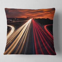 Cityscape Speed Traffic Trails Pillow