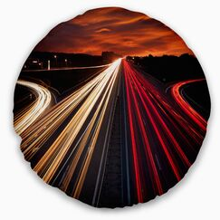 Cityscape Speed Traffic Trails Throw Pillow Size: 20
