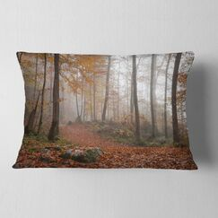 Landscape Autumn Forest in Germany Lumbar Pillow