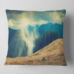 Landscape Blue Forest in Fog Pillow Size: 18