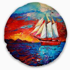 Seascape Sail Ship During Sunset Throw Pillow Size: 16