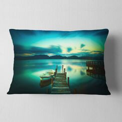 Seascape Wooden Jetty and Boat in Sea Lumbar Pillow
