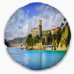 Seascape Lerici Village Panorama Throw Pillow Size: 16