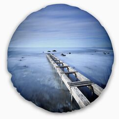 Seascape Sky and Large Pier Throw Pillow Size: 20