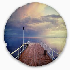 Seascape Pier Under Bright Sky Throw Pillow