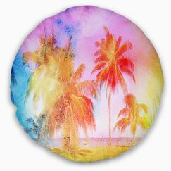 Landscape High Rise Retro Palm Trees Throw Pillow Size: 16