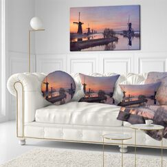 Landscape Windmills at Sunrise Panorama Throw Pillow Size: 16