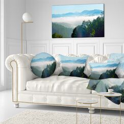Landscape Morning in Ridge Parkway Printed Throw Pillow Size: 16