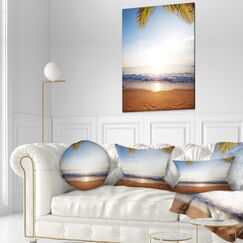 Seashore Deserted Beach with Palm Leaves Throw Pillow