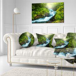 Landscape Printed Creek in Rain Forest Lumbar Pillow