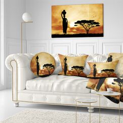 Landscape Printed African Woman and Lonely Tree Lumbar Pillow