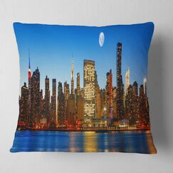 Cityscape Late Evening NYC Skyline Panorama Pillow