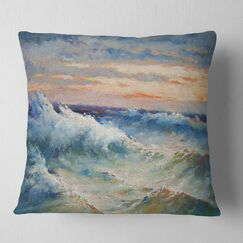 Seascape Waves During Storm Pillow
