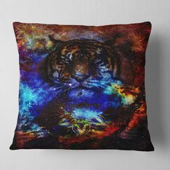 Animal Colorful Tiger Collage Pillow Size: 18