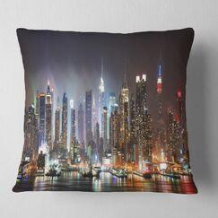 Cityscape Lit NYC Manhattan Skyline Pillow