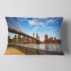 Cityscape Calm Sky over Brooklyn Bridge Lumbar Pillow