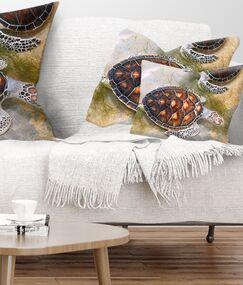 Animal Sea Turtles in Nursery Lumbar Pillow