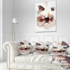 Animal Angry Watercolor Cat Sketch Throw Pillow Size: 20