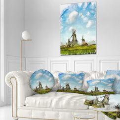 Landscape Watercolor Windmill in Netherlands Lumbar Pillow