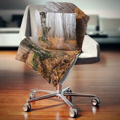 Forest Road Covered by Fallen Leaves Pillow Size: 18