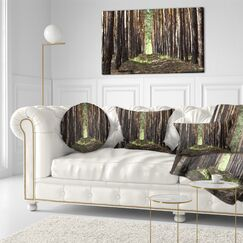 Forest Even Rows of Pine Tree Lumbar Pillow