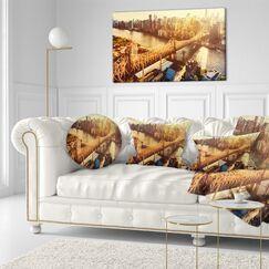 Cityscape Queensboro Bridge over East River Lumbar Pillow