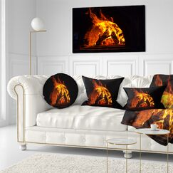 Abstract Wood Stove with Fire and Blaze Throw Pillow