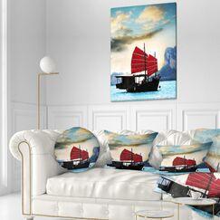 Seashore Large Chinese Sailing Ship Throw Pillow Size: 16