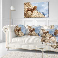 Animal Single Goat on Rocky Mountain Throw Pillow