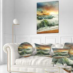 Rushing Waves in Evening Beach Lumbar Pillow