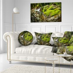 Landscape Printed Creek Moss and Rocks Panorama Throw Pillow Size: 20